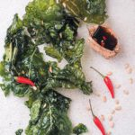 Crispy kale with chilli soya dipping sauce