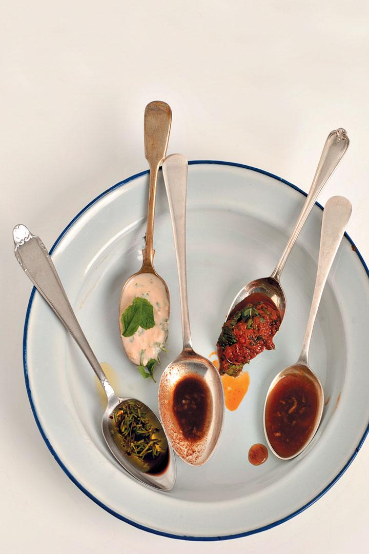 Five pastes for lamb chops