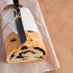 Focaccia rolled and filled with mozzarella, basil and olives