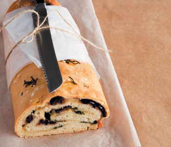 Focaccia rolled and filled with mozzarella, basil and olives recipe