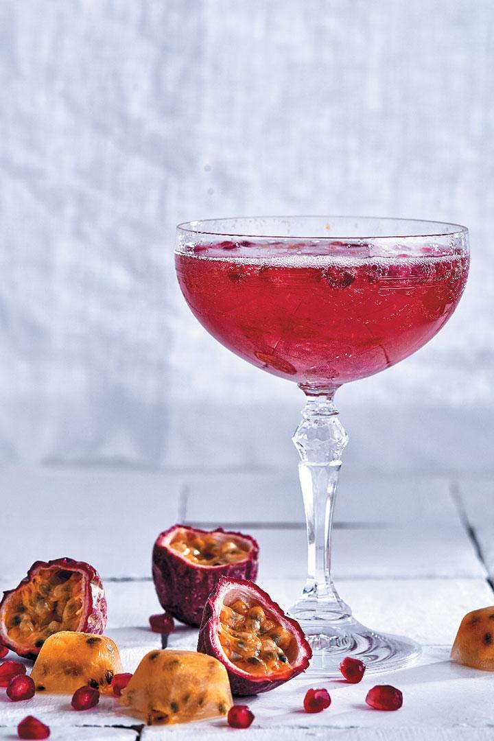 Granadilla, rose and pomegranate sparkling cocktail