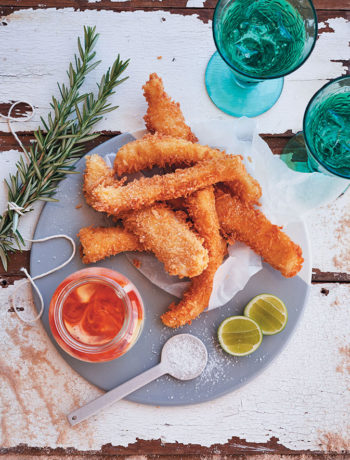 Hake goujons with sriracha mayonnaise