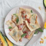 Hubbard squash and sage ravioli with bacon butter