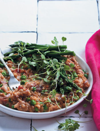 Pea, asparagus and mature Cheddar barley risotto
