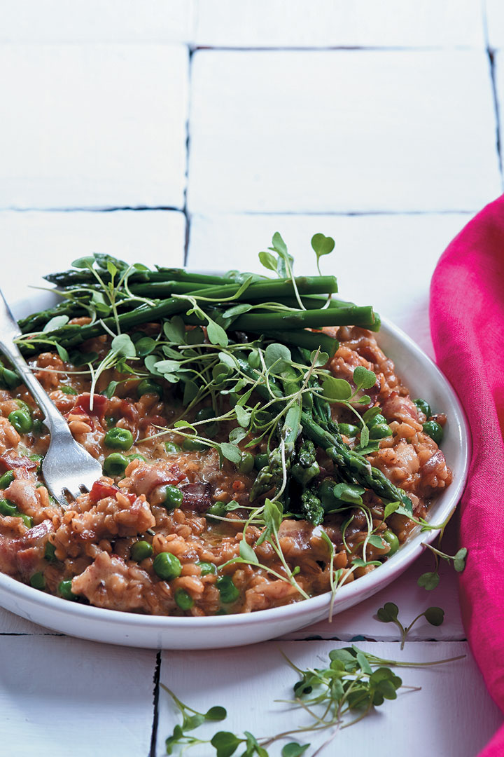 Pea, asparagus and mature Cheddar barley risotto