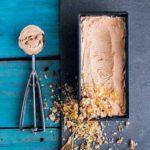 Peanut butter and chocolate milk stout ice cream with pecan nut praline