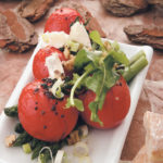 Roasted tomatoes, asparagus, goat's cheese and walnut salad served with mustard and a balsamic dressing