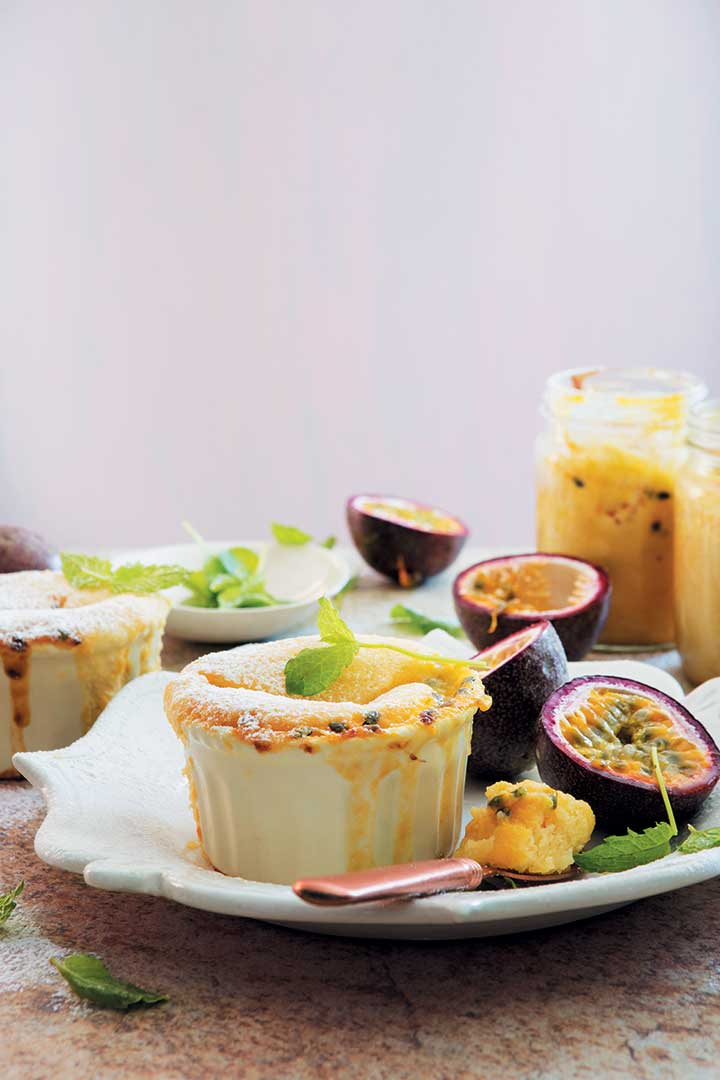 Self-saucing granadilla, white chocolate, yoghurt and coconut puddings