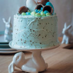 Speckled vanilla cake with marshmallow Easter-egg filling