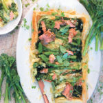 Broccolini, Brie and trout tart