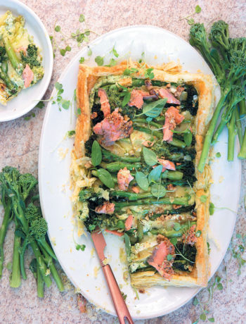 Tenderstem broccoli, Brie and salmon tart recipe