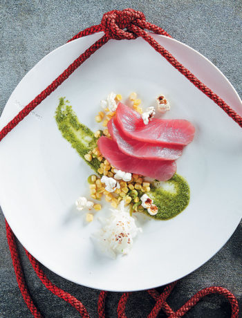 Tuna sashimi with corn salsa and Peruvian-style green sauce