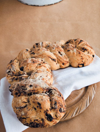 Walnut and prune plaited bread recipe