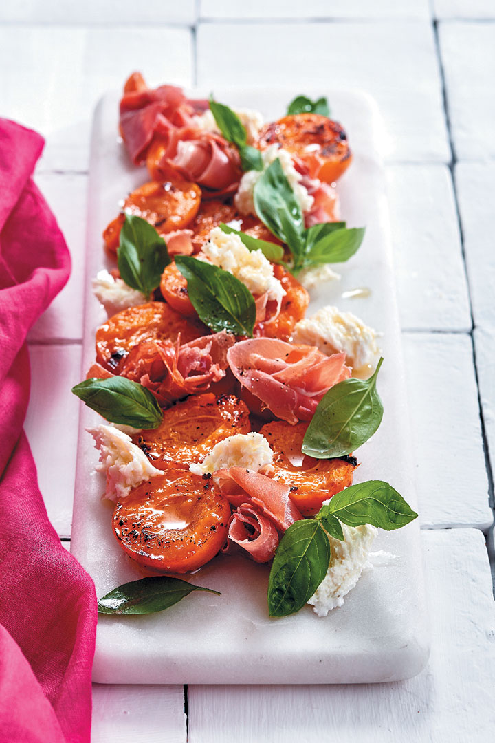 Chargrilled apricots with prosciutto, buffalo mozzarella and basil recipe