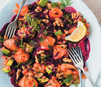 Beetroot carpaccio with avocado salsa, salmon ribbons and walnuts recipe