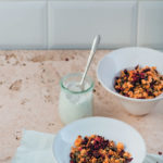 Beetroot granola with whipped coconut cream