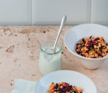 Beetroot granola with whipped coconut cream recipe