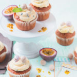 Carrot cupcakes with granadilla, white chocolate and cream cheese icing