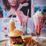 Greased Lightnin' bacon burger and Pink Lady shake