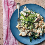 Lemony cauliflower and sweet potato salad with crunchy mange tout peas