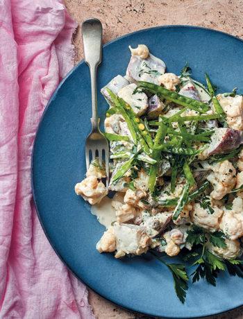 Lemony cauliflower and sweet potato salad with crunchy mange tout peas