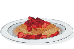Pan-seared oat slabs with honeyed strawberries recipe
