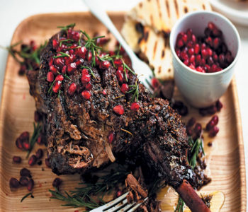 Slow-roasted Easter leg of lamb with pomegranate and rosemary recipe