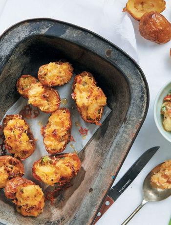 Three-cheese stuffed potatoes
