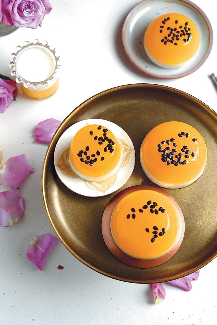Yoghurt panna cotta with mango and granadilla jelly recipe