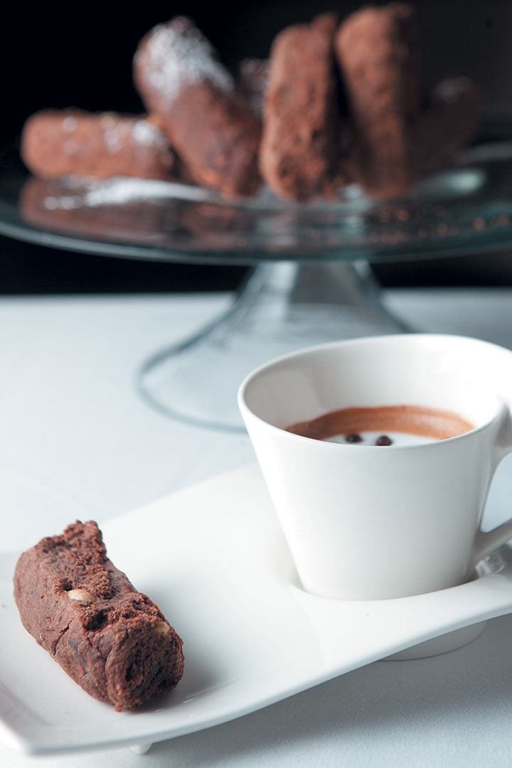 Double chocolate and bran rusks served with a Caffè Macchiato