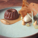 Espresso and white chocolate cake, apple compôte, almond ice cream, espresso tuile and roasted chocolate crémeux