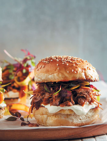 Gooseberry-roasted pulled pork buns