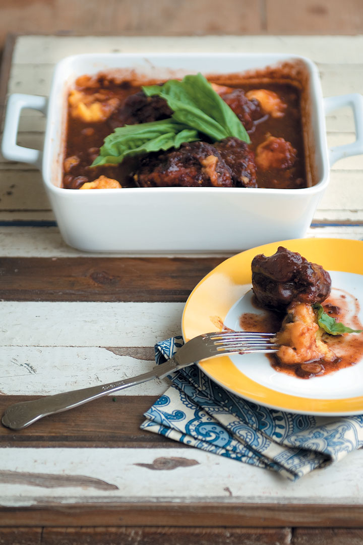 Oxtail stew with polenta balls recipe