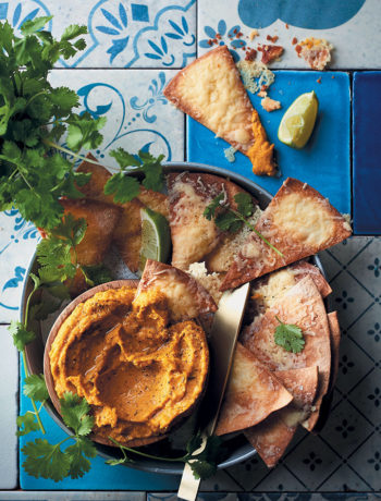 Pumpkin, lime and chilli hummus with cheesy tortilla dippers recipe