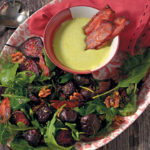Roasted beetroot with crispy bacon and rocket aioli