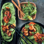 Avo mousse with Cajun prawns