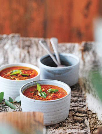 Tomato & red pepper soup by Jess Sepel