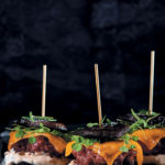 Beef, whisky and cheese mushroom burger