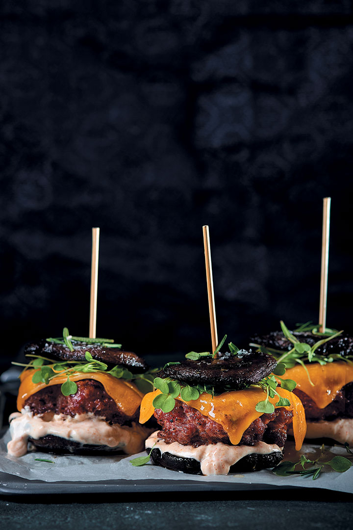 Beef, whisky and cheese mushroom burger recipe