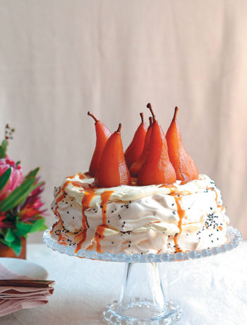 Black sesame stuffed pavlova with port poached pears recipe
