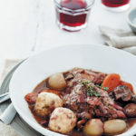 Chicken with red wine and herb dumplings
