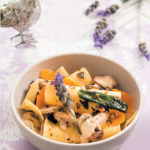 Deconstructed mushroom and butternut lasagne with lavender-infused butter