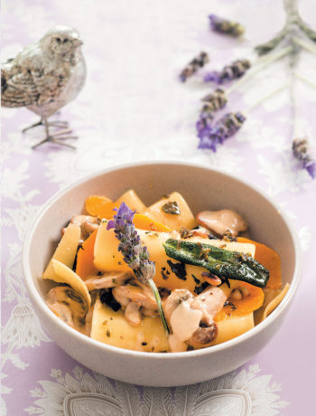 Deconstructed mushroom and butternut lasagne with lavender-infused butter recipe