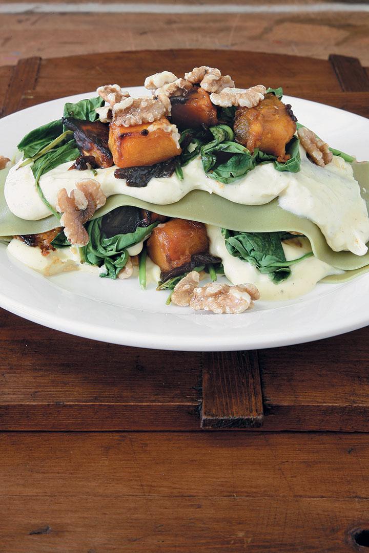 Lasagne of pumpkin, spinach, mascarpone, onion marmalade and walnuts recipe