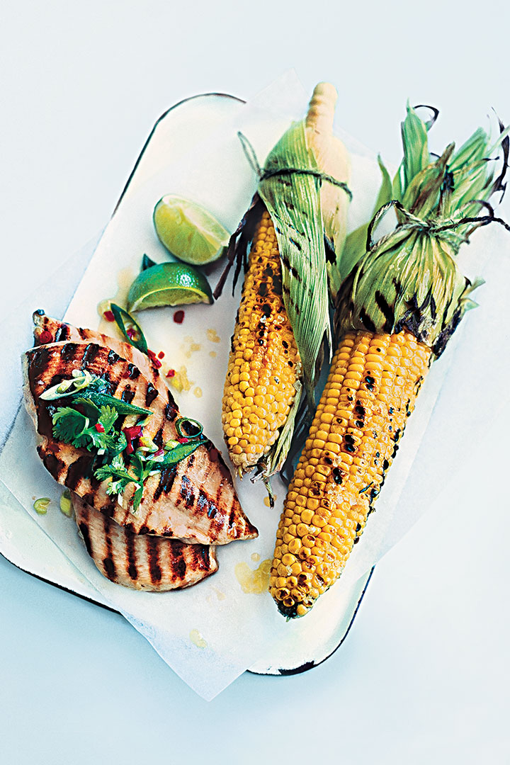 Lime and chilli chicken with smoky corn