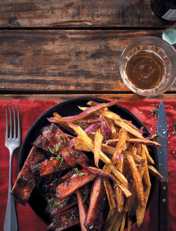 Whisky and maple sticky pork ribs with sweet potato fries recipe