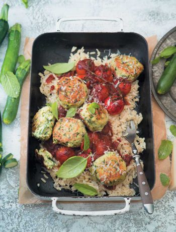"Cheesy baby marrow ""meatballs"" with orzo and spicy red wine sauce"