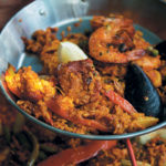 Seafood and chicken paella with chorizo