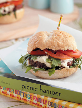 Beef, pork and rocket burgers