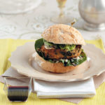 Chickpea and spinach burgers with dolcelatte and pomegranate syrup